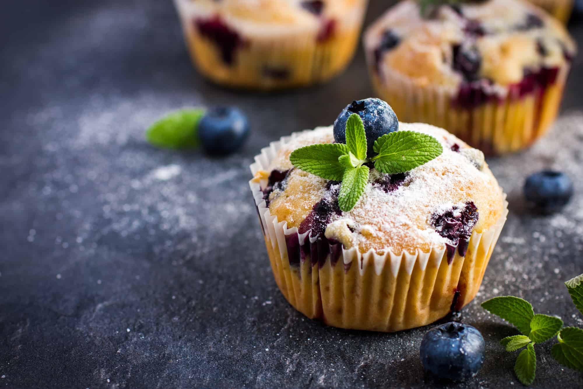 Lecker Low Carb Blaubeer Muffins aus Mandelmehl